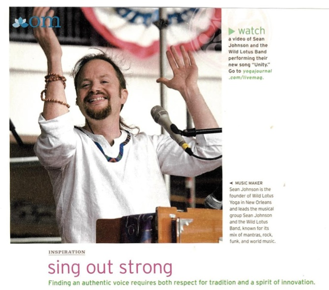 """Yoga Journal article by Sean: """"Sing Out Strong"""""""